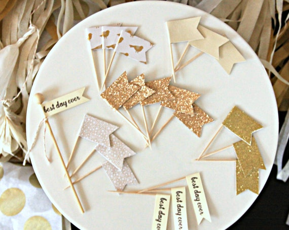 Best Day Ever Toppers, Winter Wedding Ideas, Enchanted Forest Wedding Cupcake Topper Set, Wedding Quote Ideas