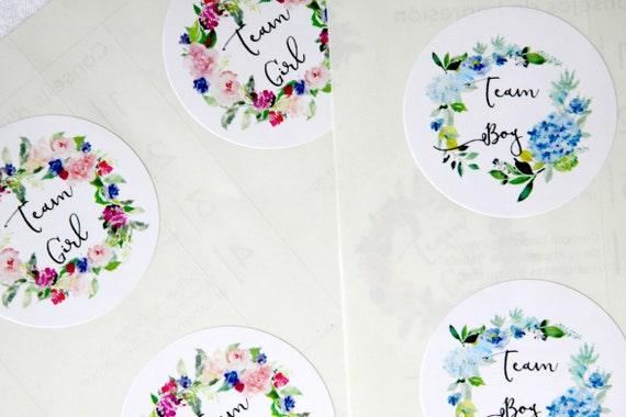 Team Boy Team Girl Stickers, Gender Reveal Ideas and Party Games