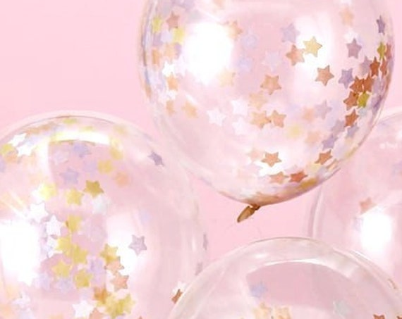 Star Confetti Filled Balloons, Graduation, Wedding Balloons, Birthday and Baby Shower Balloons