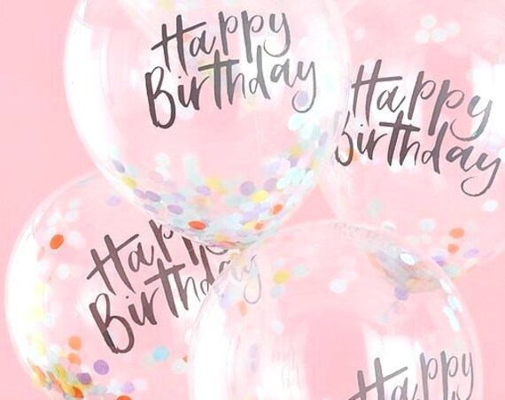 Happy Birthday Confetti Balloons, Rainbow and Unicorn Party