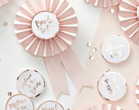 Bridal Party Badges, Bridesmaid Proposal, Pink and Rose Gold Bridal Shower Badges, Flower Girl Badge