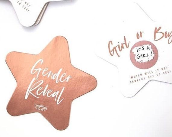 Gender Reveal Scratch Off Cards, Rose Gold