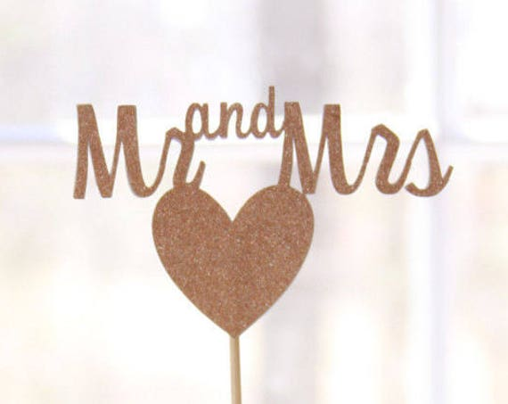 Mr and Mrs Rose Gold Cake Topper, Rose Gold Wedding Cake Ideas, Silver and Gold Options