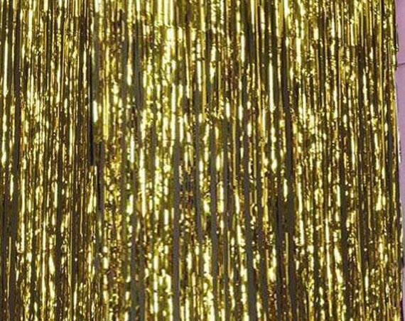 Bright Gold Fringe Photo Booth Backdrop, Streamer Backdrop for Bridal Shower, Baby Shower or Wedding Decor