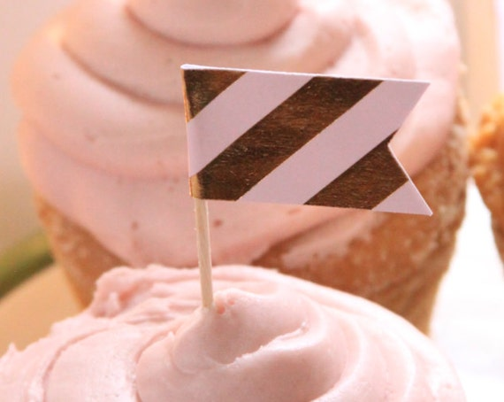 Sip and See Cupcake Toppers, Pink and Gold Baby Shower Decorations, Glam Cupcake Toppers