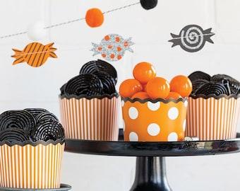 Halloween Cupcake Wrappers - Orange Dots & Stripes