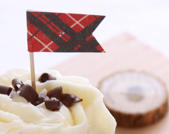 Flannel, Scotland Inspired Wedding Cupcake Toppers, Lumberjack Party, Scottish Tartan Plaid, Scottis, Red and Black, Flannel and Fizz