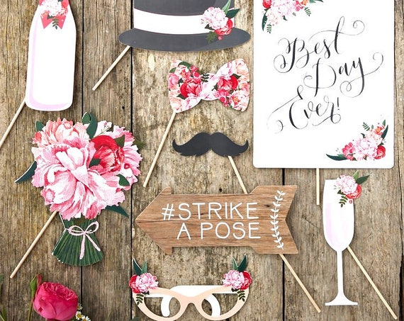 Boho Wedding Photo Props, Rustic Instagram Props, Photo Booth Cutouts, Derby Party