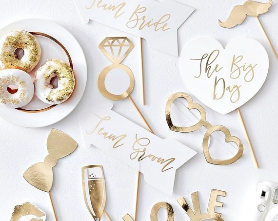Gold Wedding Photo Props, Wedding Photo Booth Cutouts