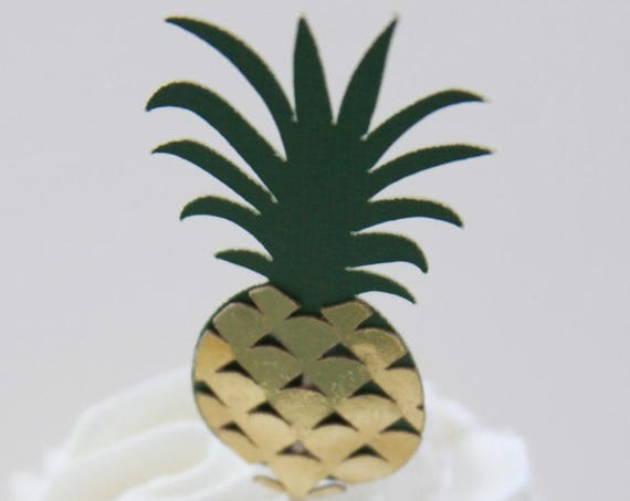Pineapple Cupcake Toppers, Gold Pineapple Party, Luau Decorations, Tropical Bridal Shower, Tutti Frutti, Pineapple Birthday, Hawaiian Party
