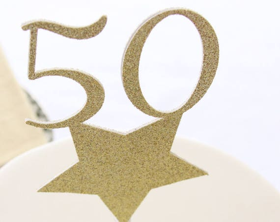 50th Birthday Ideas Cake Topper, 50 and Fabulous Party, 50th Anniversary Party Decorations