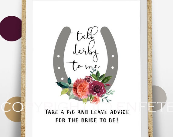 Derby Bridal Shower Sign, Advice for the Bride, Photo Props