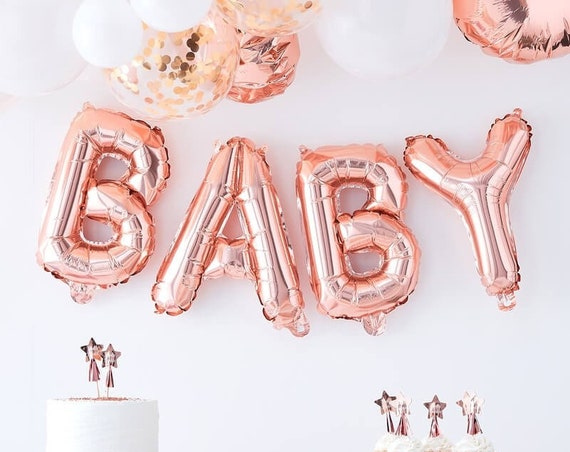Rose Gold Baby Balloons, 16 inch Rose Gold Mylar Balloons, Baby Shower, Gender Reveal Decorations