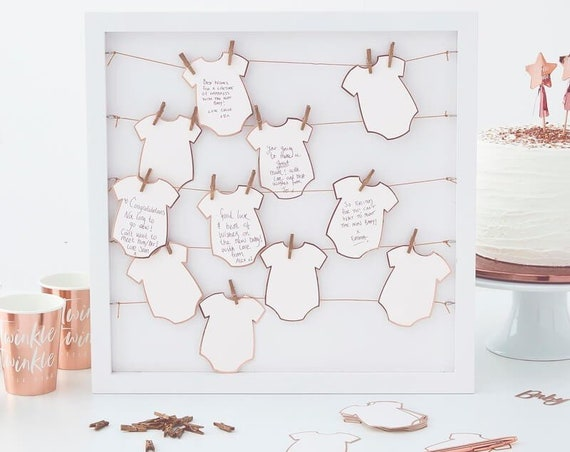 Rustic Baby Shower Guest Book and Advice Cards, Onesie Cutouts
