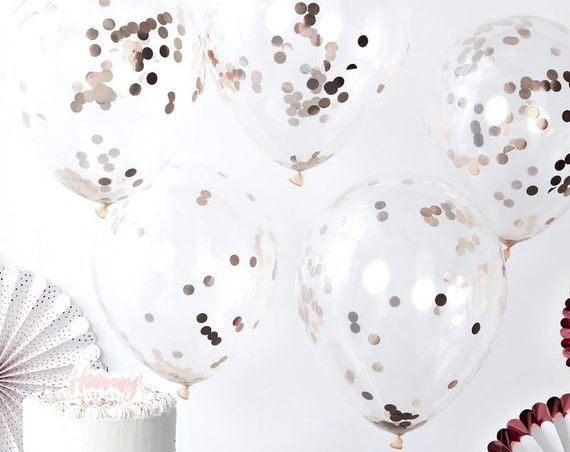 Rose Gold Confetti Filled Balloons, Graduation, Wedding Balloons, Birthday and Baby Shower Balloons