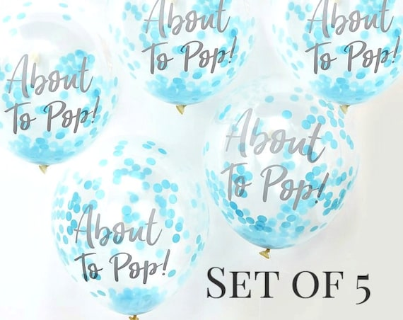 About to Pop Baby Shower Balloons, Blue Baby Boy Balloons, Mom to Be Balloons