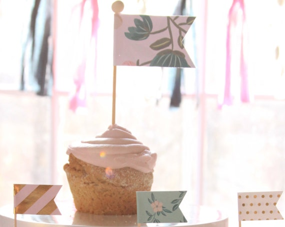 Shabby Chic Baby Shower Cake Topper, Floral Birthday Cake Flags, Rustic Floral Bridal Shower