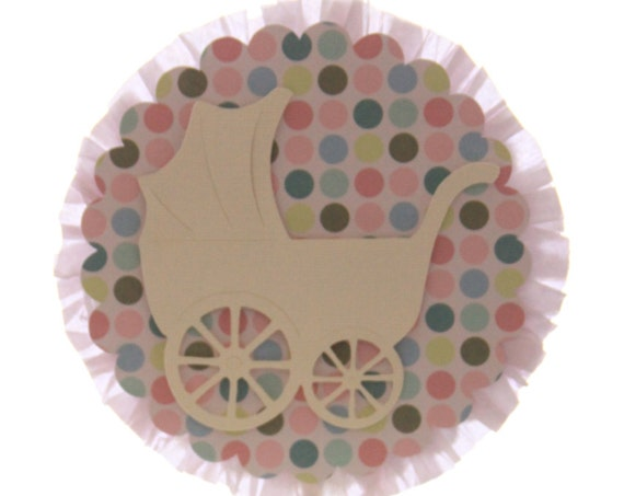 Gender Reveal Party Ideas, Sip and See Decor Carriage Cake Topper, Diaper Cake Topper, Elegant Baby Shower Centerpiece, Party Supplies