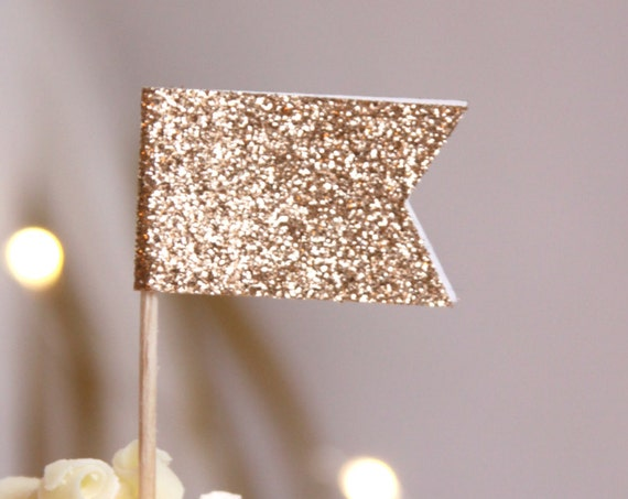 Rose Gold Cupcake Toppers, Wedding Cupcakes, Champagne Glitter, Rehearsal Dinner Decorations