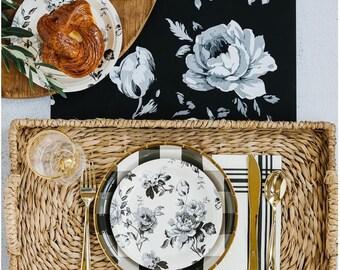 Farmhouse Table Runner - Black Floral