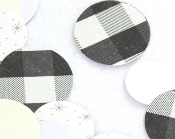 Lumberjack Party Baby-q Confetti, Buffalo Plaid Party, Lumberjack Birthday, Black and White Buffalo Check,  Baby-que Decorations, Barbeque