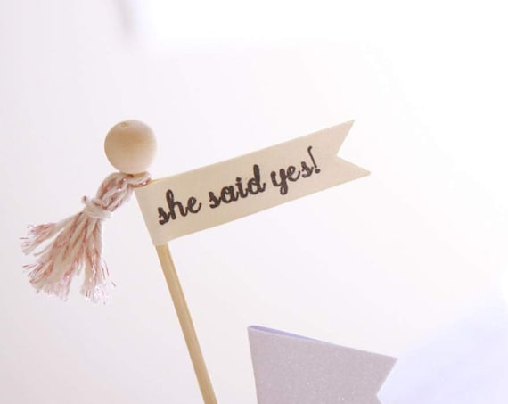 She Said Yes Decor, Engagement Party Ideas, Bachelorette, Bridal Shower, Cupcake or Cake Topper, Engagement Photo Prop, Rose Gold Decor