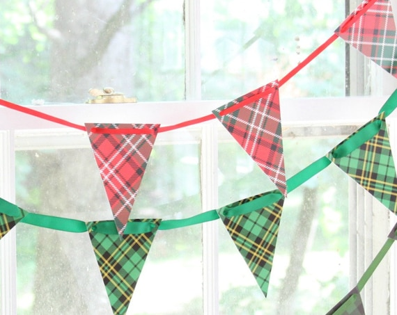 Kentucky Derby Party Plaid Bunting, Fireplace Decoration for Christmas, Flannel Fling Before the Ring