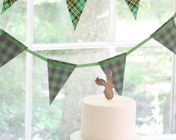 Little Buck Baby Shower Decorations, Christmas Plaid Garland, Hunter Party Plaid Banner, Green Buffalo Check