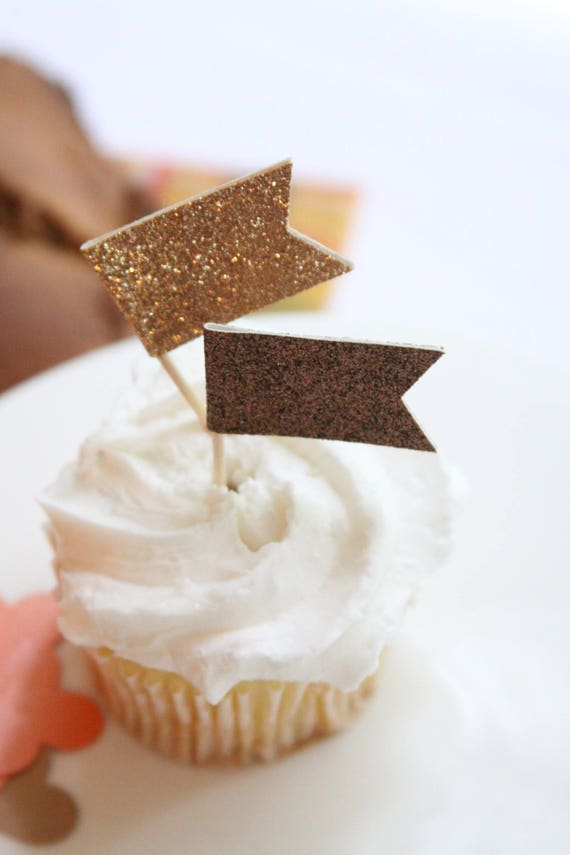Wedding Cupcake Toppers Bronze Glitter Wedding Decoration Etsy