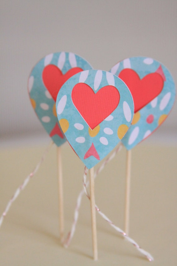 Sip And See Cupcake Toppers Heart Balloon Tail Gender Reveal Etsy