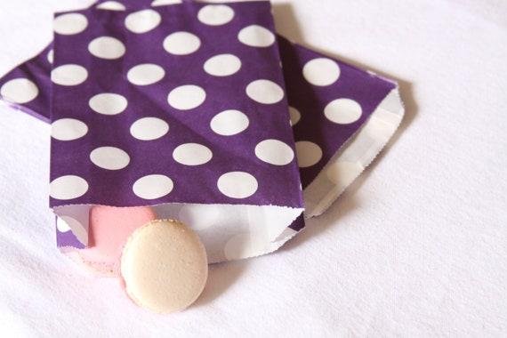 Purple Favor Bags, Violet Polka Dot, Treat Bags, Gift Bags, Thank You, Popcorn, Candy Buffet Bags, Wedding Favor, Pansy Purple