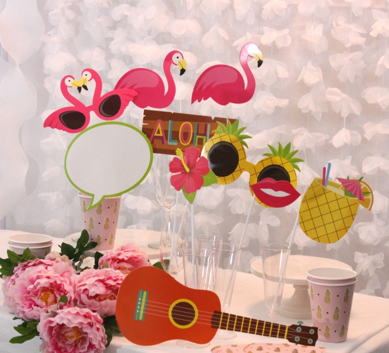 Tropical Bridal Shower Photo Booth Props Luau