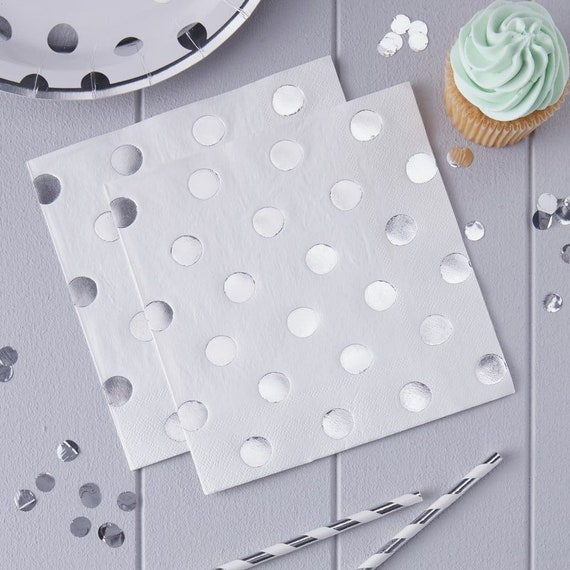 Disco Party Silver Polka Dot Napkins, Baby Shower, Bridal Shower