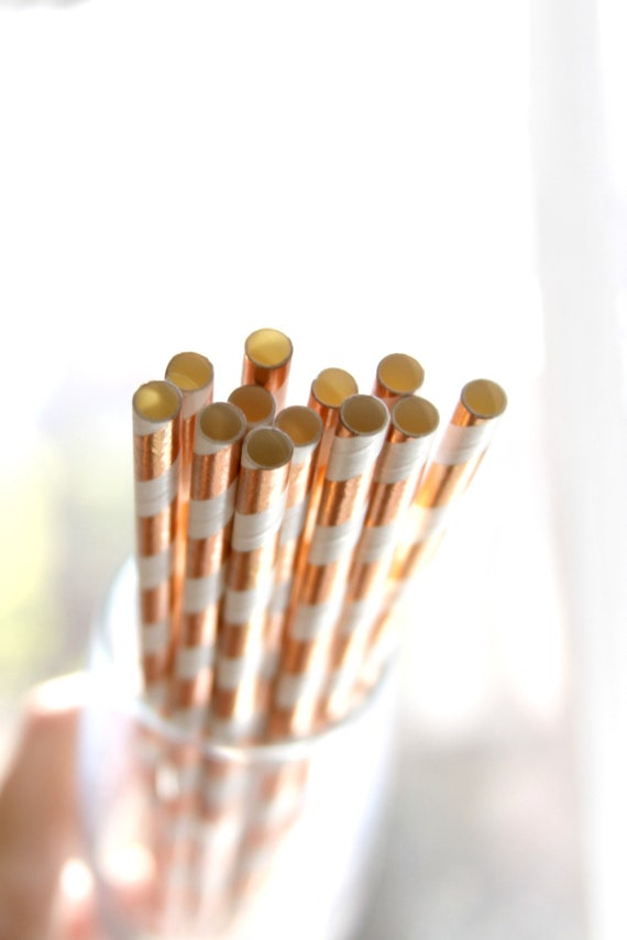 Rose Gold Striped Straws, Mimosa Bar Drink Stirrers