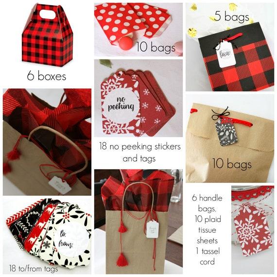 Christmas Gift Wrap Bundle, Sale, Plaid Wrapping Paper, Buffalo Plaid Treat Bags, Christmas Gift Bags, Buffalo Check Tissue Paper