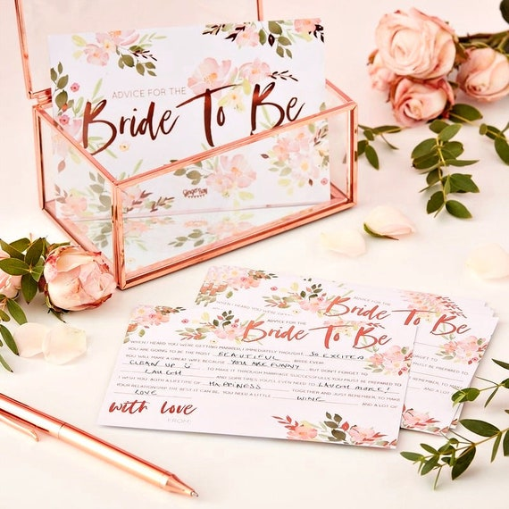 Bridal Shower Advice Cards, Floral Rose Gold Games for Shower
