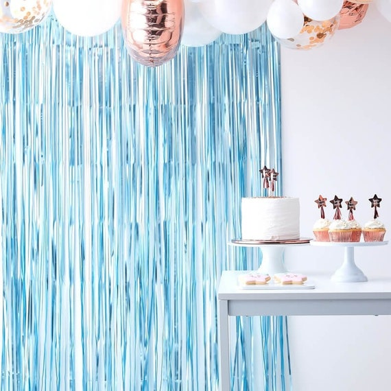 Blue Fringe Photo Booth Backdrop, Streamer Backdrop  For Boy Baby Shower