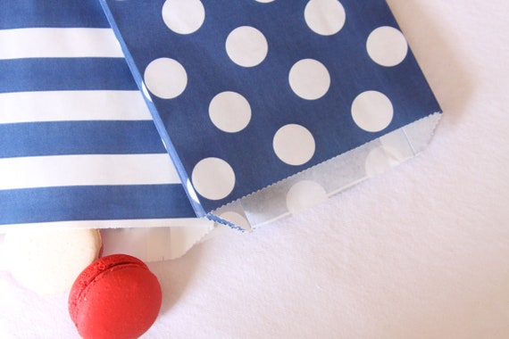 Navy Blue Wedding Favor Bags, Cookie Bags, Popcorn Bags, Snack Bags, Bridal Shower Gift Bags