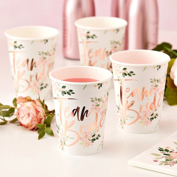 Team Bride Floral Paper Cups, Bridal Shower Decorations, Pink and Gold Party Supplies