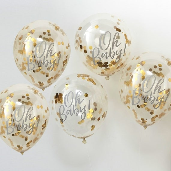 Oh Baby Balloons, Gold Confetti Filled Balloons, Baby Shower Balloons, Sip and See Decor