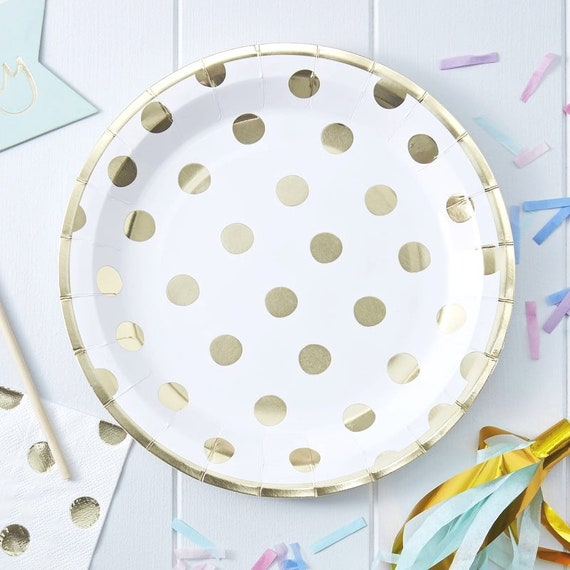 Gold Polka Dot Paper Plates, Great Gatsby Party, Bridal Shower Decorations
