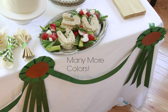 Kentucky Derby Decorations, Equestrian Party, Banner or Bunting, Horse Show Ribbon, Run for the Roses Bridal Shower, Pony Party