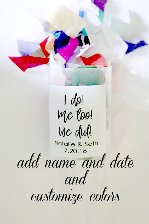 Wedding Confetti Poppers and Elopement Announcement , Set of 10 Personalized with Name and Date of Wedding