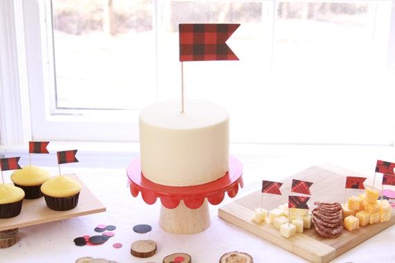 Lumberjack Cake Topper, Buffalo Plaid Party, Little Lumberjack Birthday, Red Black Buffalo Check, Woodland Camping Decor