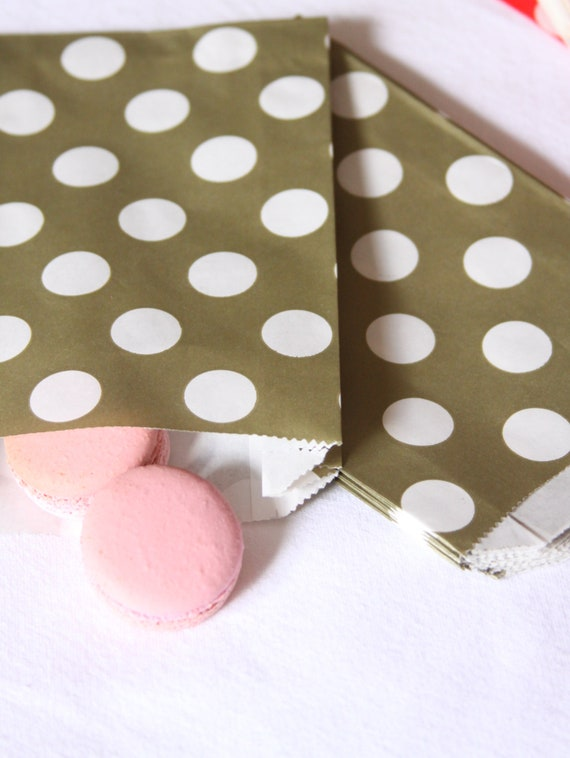 Pink and Gold Baby Shower Favor Bags, Gold Polka Dot Treat Bags, Candy Bar Bags, Wedding Candy Bags
