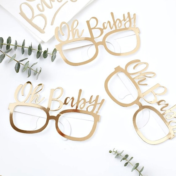 Oh Baby Photo Props, Baby Shower Favors, Gold Glasses for Photo booth