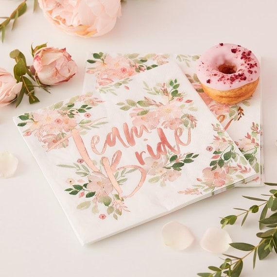Rose Gold Team Bride Napkins, Floral, Mimosa Bar, Bridal Shower Decor