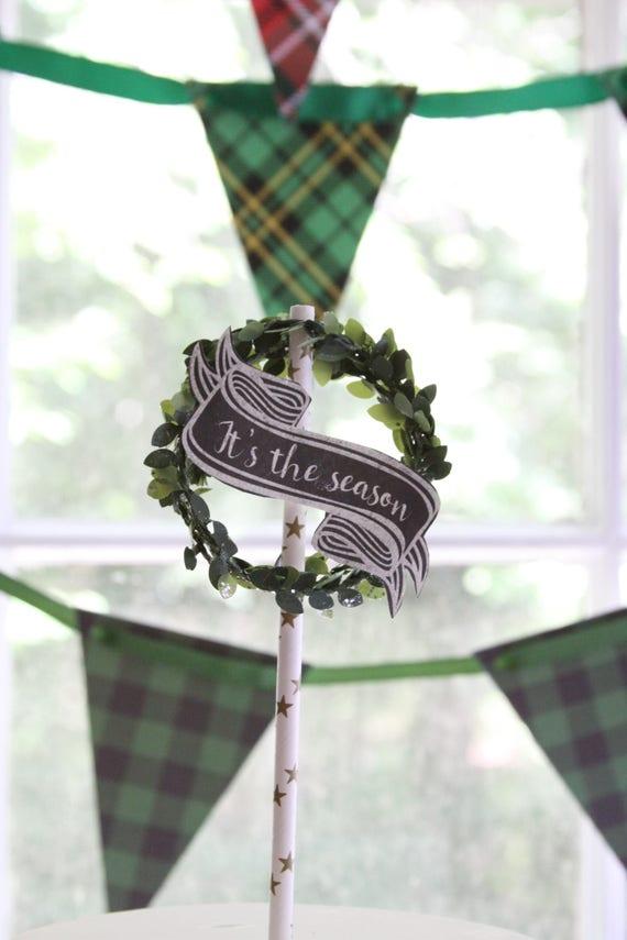 Wreath Topper,  Christmas Wreath Holiday Cake Topper, Winter Wedding, Ribbon Chalkboard Banner, Wreath for Winter Wedding Cake, Engagement