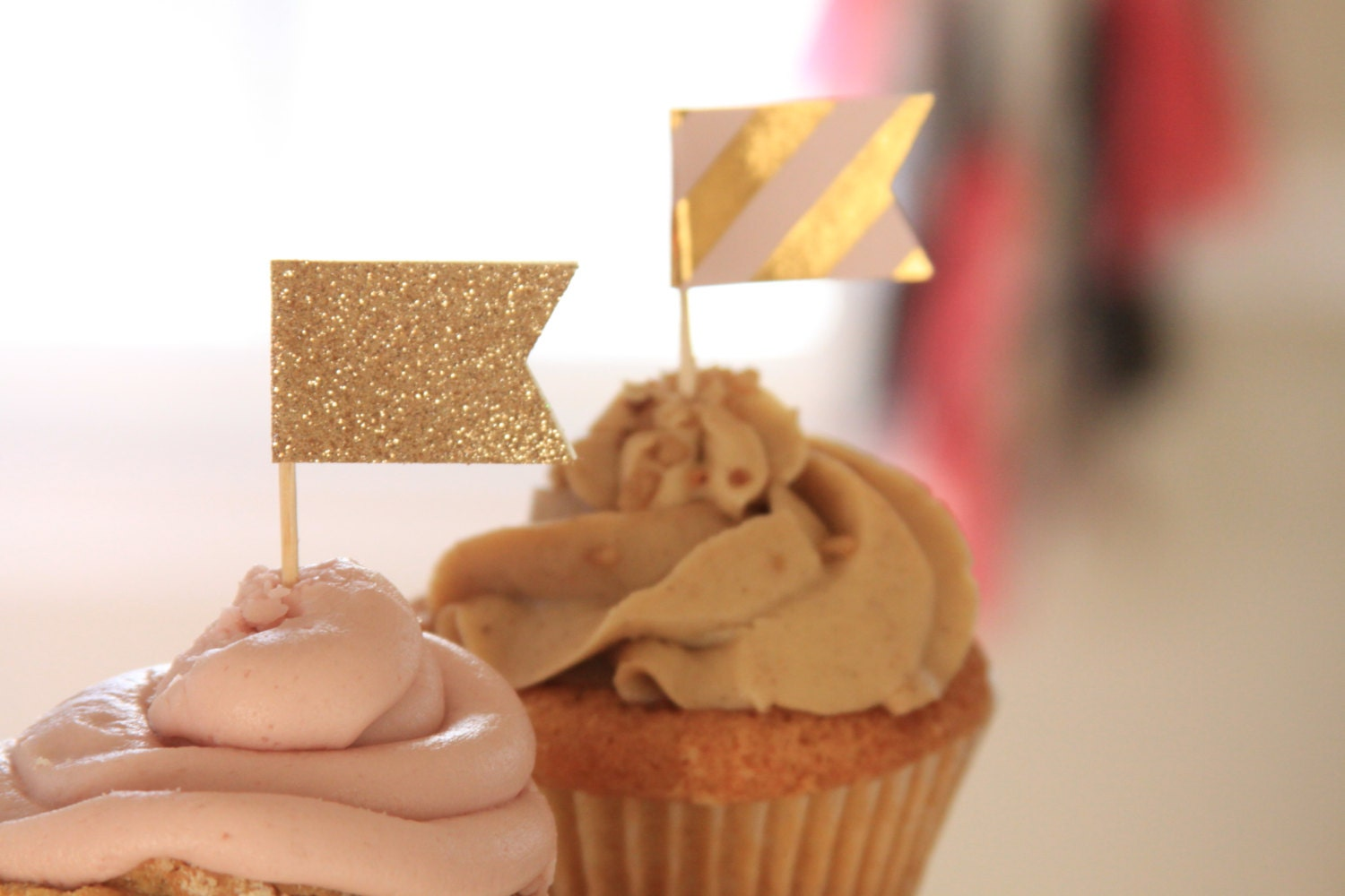 Gold Glitter Cupcake Topper Gold Wedding Decor Engagement Party