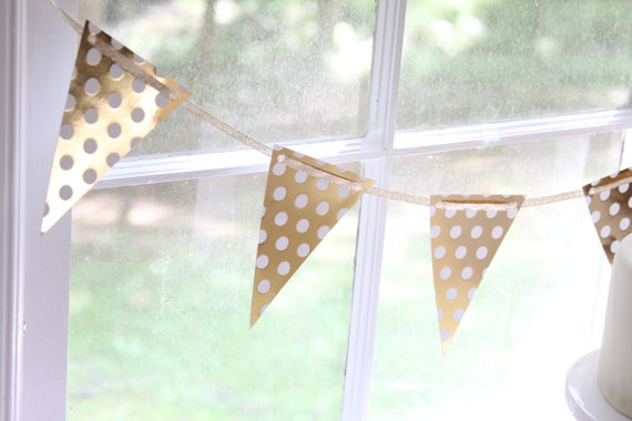 Gold Polka Dot Banner, Pink and Gold Baby Shower, Girls Gold Banner, Gold Gender Reveal Party Decorations